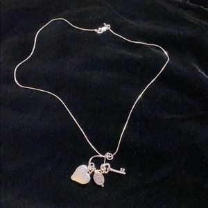Sterling Silver Heart, Key and Love Necklace